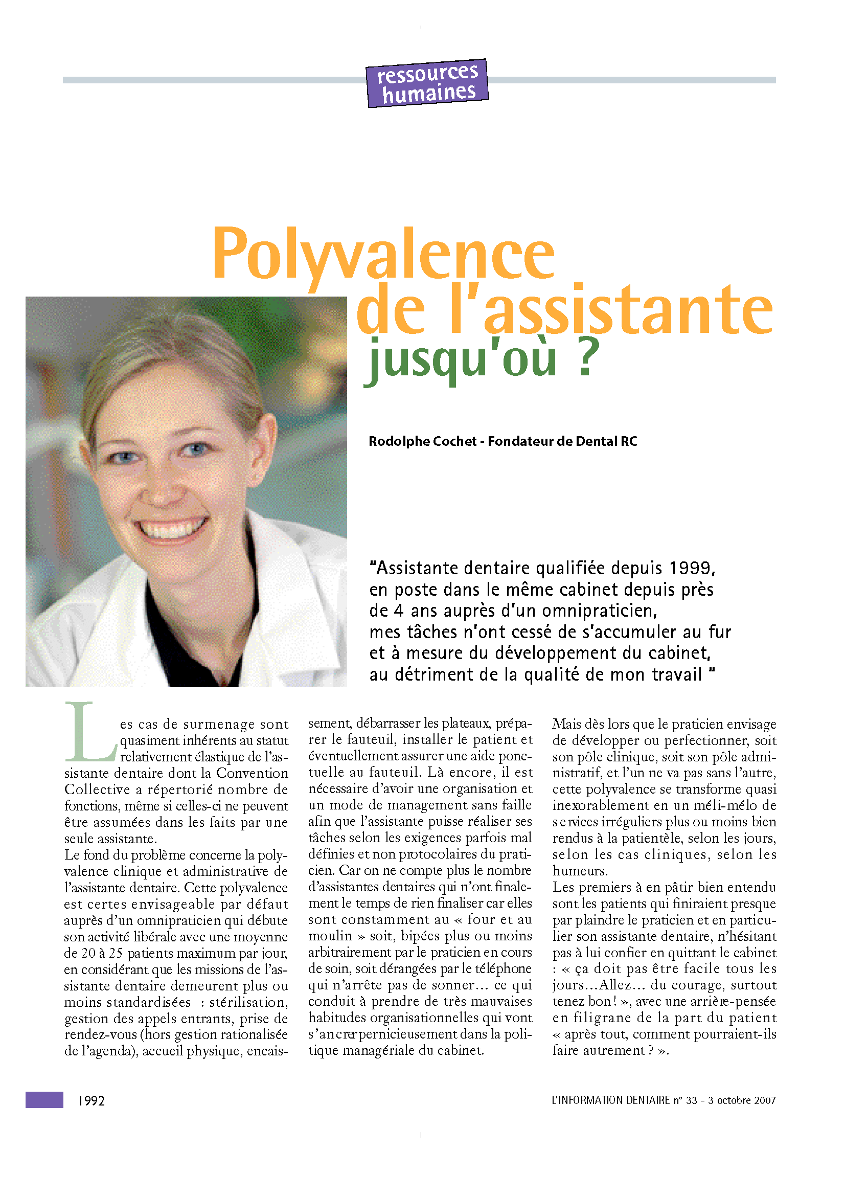 Information Dentaire - La Polyvalence de l'assistante dentaire - Rodolphe Cochet.png